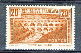 Francia 1929 Pont Du Gard Y&T N. 262 Tipo IIB FR 20  Rame Chiaro MLH - Ungebraucht