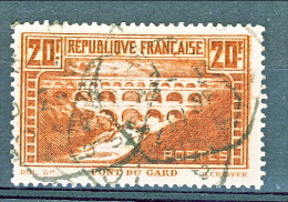 Francia 1929 Pont Du Gard Y&T N. 262 Tipo IIB FR 20  Rame Chiaro USATO, Annullo Exagon - Gebraucht