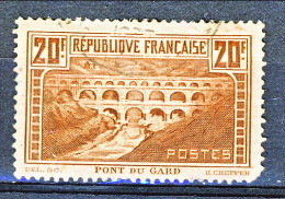 Francia 1929 Pont Du Gard Y&T N. 262 Tipo IIB FR 20  Rame Chiaro USATO, Molto Centrato - Gebraucht