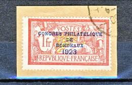 Francia 1923 Congresso Filatelico Bordeaux Y&T N. 182 Fr. 1 + Fr 2 Vinaccia E Oliva Usato Su Frammento - Gebraucht