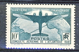 Francia 1936 Y&T N. 321 Traversata Aerea Atlantico Sud  Fr 10 Verde, MNH Centratissimo LUX - Ungebraucht