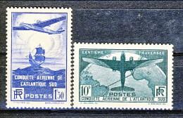 Francia 1936 Traversata Aerea Atlantico Sud  Y&T Serie 320-321 MNH Centratissimi LUX - Ungebraucht