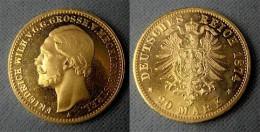 20 Mark Gold 1874 Mecklenburg-Strelitz Großherzog Friedrich Wilhelm - [ 2] 1871-1918: Deutsches Kaiserreich