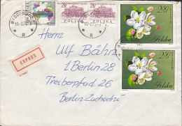 Poland EXPRÉS Label BYDGOSZCZ 1973 Cover Brief BERLIN Germany Schiff Ship Flower Blume Stamps (2 Scans) - Briefe U. Dokumente