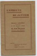 IIIeRépublique, Paul Reynaud, Ministre Des Finances, Discours, L´épreuve De Janvier 1939 - History