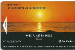 HOTEL MELIA ALTEA HILLS , Llave Clef Key Keycard Karte - Hotel Labels