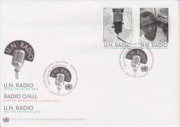 United Nations FDC Mi 764-765 - World Radio Day - Microphone - Cancellation Vienna - 2013 - FDC