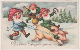 Glückwunsch Neujahr, Zwerg Reitet Glücksschwein, Fliegenpilz, Postkarte, Feiern, Feste - Nouvel An
