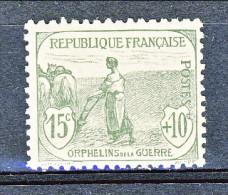 """""""Francia 1917-18 Pro Orfani Di Guerra Y&T N. 150 C. 15 + 10 Grigio-verde, MNH Firmato Biondi - Unused Stamps"""