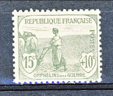 """Francia 1917-18 Pro Orfani Di Guerra Y&T N. 150 C. 15 + 10 Grigio-verde, MNH Firmato Biondi - France"