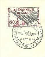 Hommage Aux Donneurs De Sang; L'aeronautique Paris 21/10/1959  Yvert 1220 Et Lille 1188 - Frankrijk