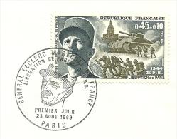 FDC General Leclerc Marechal De France, Liberation De Paris 2e D.B. 23/8/1969  Yvert 1609 - FDC