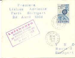 Premiere Liaaison Boeing 737 City Jet Paris-Stuttgart Lufthansa 23/4/1968  Yvert 154 - Luchtpost
