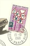 `Salon De L' Automobile Paris, 13/10/1968   Yvert 1548  Et Armoires De Villes Auch Nr. 1468 - Auto's