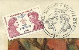 FDC Pierre Bourgoin - Philippe  Kieffer, 27/10/1974, Heros De Parachutistes, Yvert 1773 - FDC