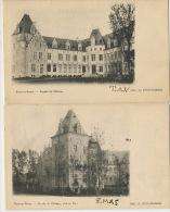 Ham Sur Heure 2 Cartes Chateau Imp. A. Frere Rodelet Timbrée Charleroi 1904 Vers Lahage Tintigny - Ham-sur-Heure-Nalinnes