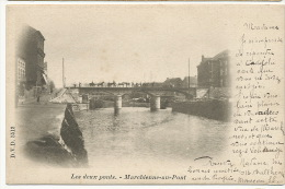 Marchienne Du Pont Les Deux Ponts  DVD 5512 Timbrée 1901 Vers Hesdin Peniche - Belgique