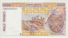 West African States 1000 Francs 1998 Pick 711Kh UNC - Stati Dell'Africa Occidentale