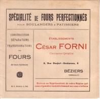 HERAULT - BEZIERS - SPECIALITE DE FOURS PERFECTIONNES - BOULANGERS & PATISSIERS - CESAR FORNI - Publicités
