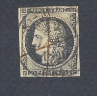 HAUTE VIENNE 87 SAINT JUNIEN TAD Type 14 Sur N° 3  20 Centimes Noir Détaché  Du 12  Janvier 1849 + Plume En Noir TB - 1849-1850 Cérès