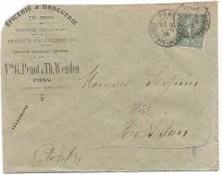 VP.261/ Charente-inférieure - Enveloppe - Pons - Penot & Wenden - Epicerie - Vieux Papiers