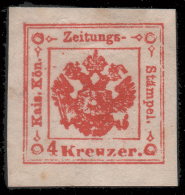 Occupazione Austriaca - Lombardo Veneto: Segnatasse per giornali / Stemma austro-ungarico 4 K rosso - 1858/59