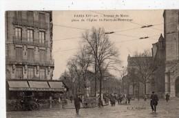 PARIS AVENUE DU MAINE PLACE DE L'EGLISE SAINT-PIERRE-DE-MONTROUGE ANIMEE CAFE DE LA PAIX - Arrondissement: 14