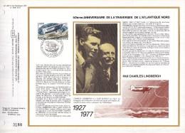 Feuillet CEF Sur Soie 407 S - Traversée De L´Atlantique Nord - PA 50 (Yvert) - 4 Juin 1977 Le Bourget & Nogent Sur Marne - 1970-1979