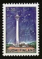 FINLAND SUOMI 1971 - TELEVISION TOWER + PLANETARIUM/AQUARIUM Tampere / Solar System - Mi 692 MNH ** E315a - Finlande