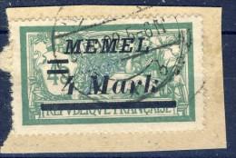 ##K1197. Memel 1922. Michel 91. Cancelled On Fragment. - Memel (1920-1924)