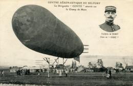 90  BELFORT CENTRE AERONAUTIQUE LE DIRIGEABLE CONTE  ATTERRIT SUR LE CHAMP DE MARS - Belfort - Ville