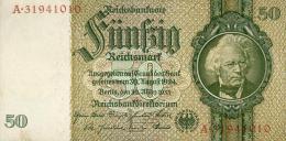 Deutschland, Germany - 50 Mark, Reichsbanknote, Ro. 175 C ,  ( Serie L/A  ) , 1934 ! - 1933-1945: Drittes Reich