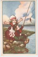 BERTIGLIA - ART DECO POSTCARD 1930s - CHILDREN FISHING - N.235 - Bertiglia, A.