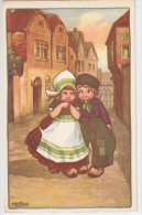 BERTIGLIA - ART DECO POSTCARD 1930s - CHILDREN FLIRTING - N.235 - Bertiglia, A.