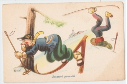 GALBIATI - HUMORISTIC / COMIC 1940s POSTCARD - SKI - BEGINNER SKIERS - Illustrateurs & Photographes