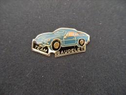 Pin´s RENAULT,Berlinette,ALPINE,A110,Team BAUDELET,Rallye Automobile,voiture Epoxy. - Renault