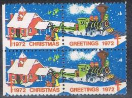 Viñeta X 2  CHRISTMAS 1972, Greetings. Ferrocarril, Tren ** - Variedades, Errores & Curiosidades