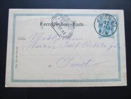 Postkarte GANZSACHE WIEN  - Imst 1901  //  D*15775 - Briefe U. Dokumente