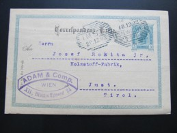 Postkarte GANZSACHE Wien XII Adam Bischoffhasse - Imst 1902 //  D*15777 - 1850-1918 Imperium