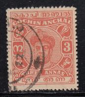 India - Cochin Used Scott #88 3a Maharaja Ravi Varma - Cochin