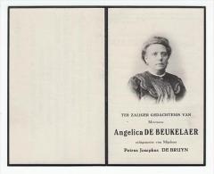 Doodsprentje Angelina DE BEUKELAER Echtg. Petrus Josephus De Bruyn Merxem 1855 Capellen 1922 (foto) - Images Religieuses