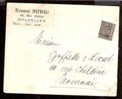 011614  Sc 110 - 3c ALBERT I  - ROLLER PREO - BRUXELLES/1921/BRUSSEL TO TOURNAI [ERNEST BURGI] COVER OPEN RIGHT SIDE - Roller Precancels 1920-29