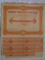 Action 100F 1928 Compagnie Congolaise Du Caoutchouc Societe Anonyme  Titre Coupons - Afrique