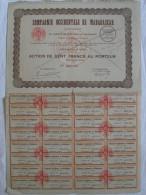 Action 1933 Compagnie Occidentale Madagascar 100 F Action Au Porteur  Siege à Paris Emprunt Titre Coupons - Afrique