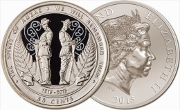 """NEW ZEALAND  50 Cents  2.015  2015  Nickel-plated Steel  """"The Spirit Of ANZAC""""   UNCirculated  T-DL-11.269 - Neuseeland"""