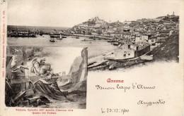 MARCHE-ANCONA-ANCONA VEDUTA PANORAMA FINE 800  VEDUTINA QUADRO  PODESTI  MOLTO BELLA VIIAGGIATA - Ancona