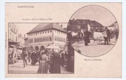 (RECTO / VERSO) RAMBERVILLERS - PLACE ET MARCHE AUX BESTIAUX - CENTENAIRE DE L´ HOTEL DE VILLE - REPRODUCTION CPA - Rambervillers