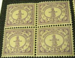 Netherland Indies 1912 Numerals 0.5c X4 - Mint - Niederländisch-Indien