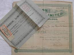 Action Share 1920 CHARRON LIMITED Avec Son Certificat De On Quarter Share Valence Drome Emprunt Titre - Automobile