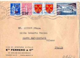 BUSTA POSTALE--PARIS-BERCY-VINS ET SPIRITUEUX -FERRERO -X SESTO SAN GIOVANNI-MILANO-10-10-1956 - Storia Postale
